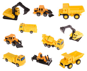 Ten multi-coloured building cars. Construction machinery