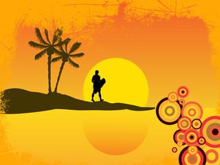 Wakeboarder Silhouette vor sommerlichem Hintergrund