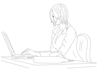Young businesswoman writing on PC