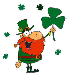 Lucky Leprechaun Holding Up A Shamrock