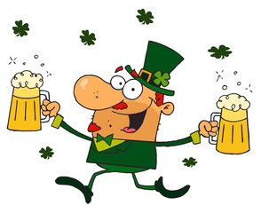 Happy Leprechaun With Two Pints of Beer