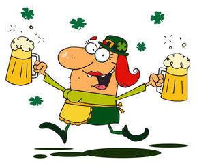 Lucky Female Leprechaun Running Through Clovers With Beers