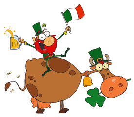 Lucky Leprechaun Sitting On A Cow With Beer And A Flag