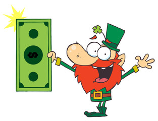 Lucky Leprechaun Holding Cash