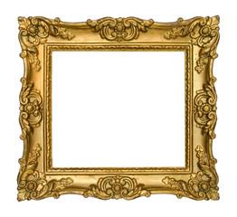 Antique Gold Frame on White Background