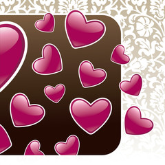 Vintage background with hearts. Vector illustration.
