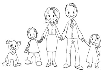 Familie, Vater, Mutter, Sohn, Tochter, Hund