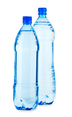 two brightly bottle with water isolated