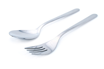 fork and spoon on a white background