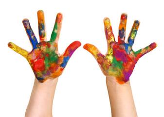 Preschooler Rainbow Painted Hands