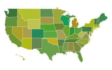 Various green USA map