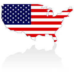 United States Map with stars and stripes over white