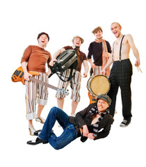 Musical band with their instruments on white