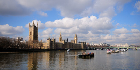 Palace of Westminster landscape looking across the Thames river