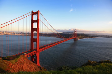 Golden Gate Bridge of San Francisco at evening