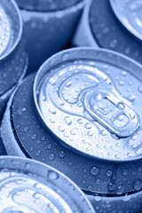 Blue drinking cans