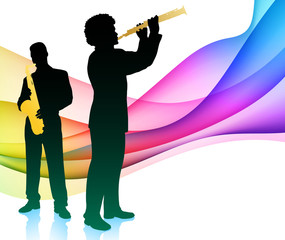 Music Band with Rainbow Light Wave