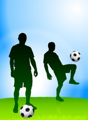 Soccer Player on Nature Background