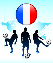 France Flag Icon on Internet Button with Soccer Team