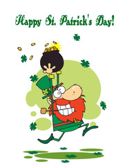 St Patrick's Day Greeting Of A Leprechaun Running With Gold