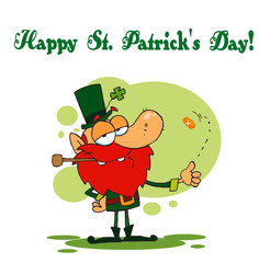 Happy St Patrick's Day Greeting Of A Leprechaun Flipping A Coin