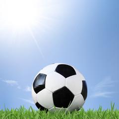 Fußball auf grüner Wiese im Sonnenschein