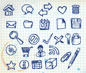 Set of doodle computer icons