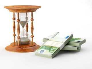 Hourglass with euro