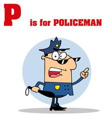 Funny Cartoons Alphabet with Text-P