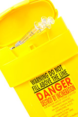 yellow container for used syringes