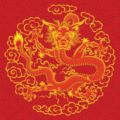 Illustration of mythological animal - a red chinese dragon.