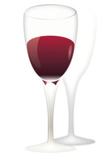 A glass of red wine of isolated on a white background. Vector