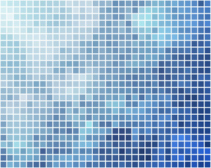 Blue and cyan square mosaic vector background.
