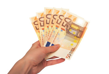 female hand holding paper euro