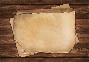 Vintage papers on wood