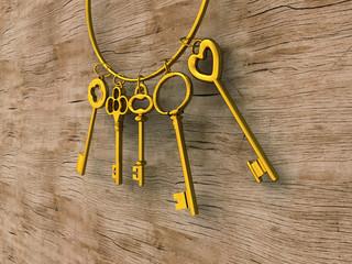 Schlüsselbund gold auf Holz 03