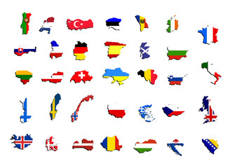 maps and flags of europe countries vector
