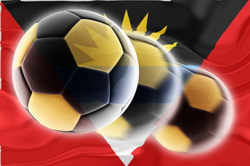 Flag of Antigua wavy soccer
