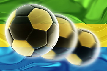 Flag of Gabon wavy soccer