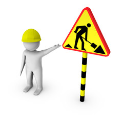 3d worker with road work sign