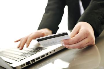 business woman making online money transaction