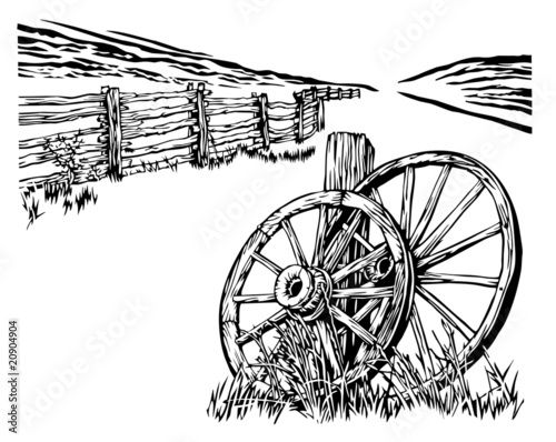 wagon whell and fence rural environment