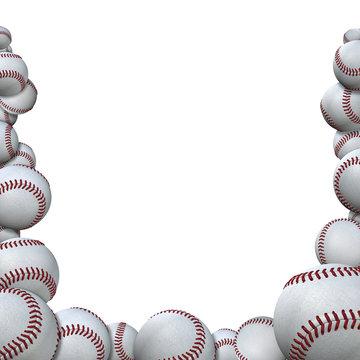 Many Baseballs form Baseball Season Sports Border