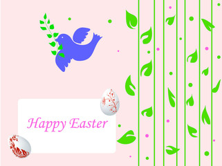 easter postcard with dove and green leaves