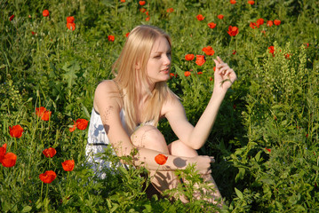 girl on the poppies field