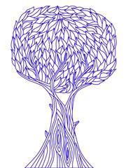 blue vector tree silhouett