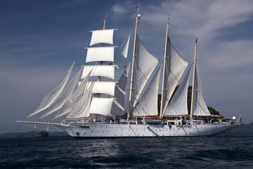 Clipper ship under full sail