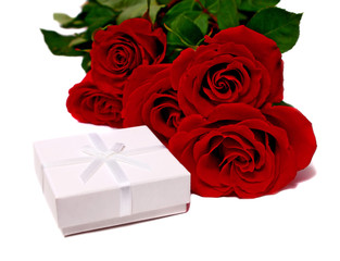white box for gifts and rose
