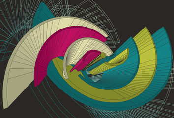 Abstract spiral shapes in 3D