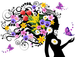 Wall Murals Floral woman Spring fairy